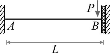 تیر یکسر گیردار- یکسر گیردار برشی تحت اثر نیروی متمرکز (P) در انتهای گیردار برشی